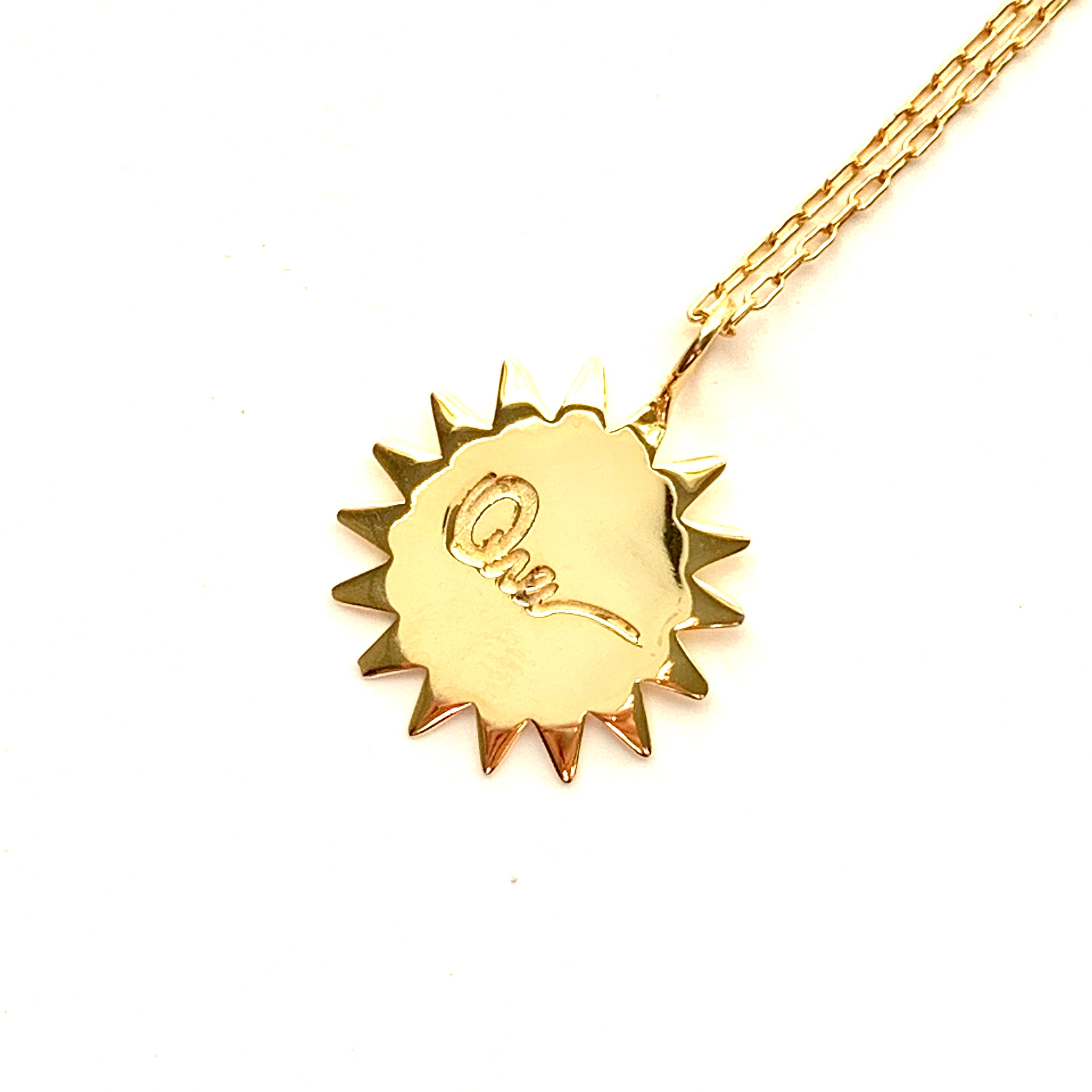 Sunburst with Large Rays in gold plate with rectangle chain