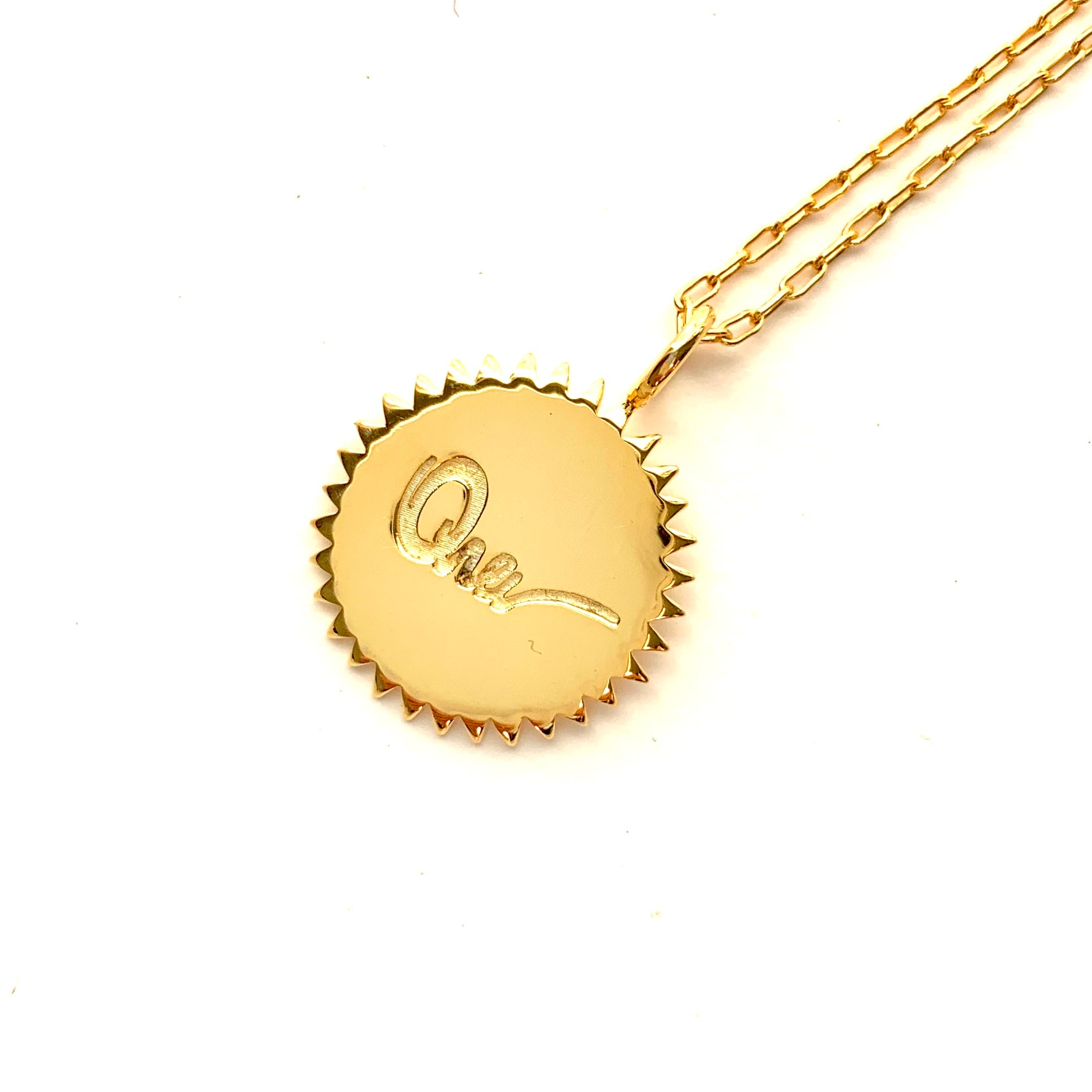 Sunburst with Mini Rays in gold plate with rectangle chain