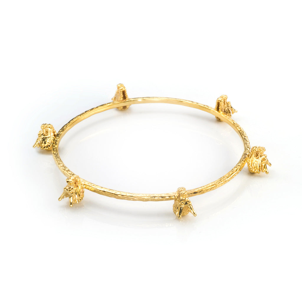 Dragon Six Head Bangle - gold
