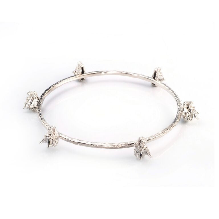 Dragon Six Head Bangle - rhodium