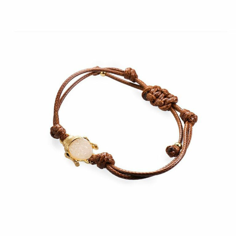 Mantra Buddha Corded Bracelet with Druzy - gold