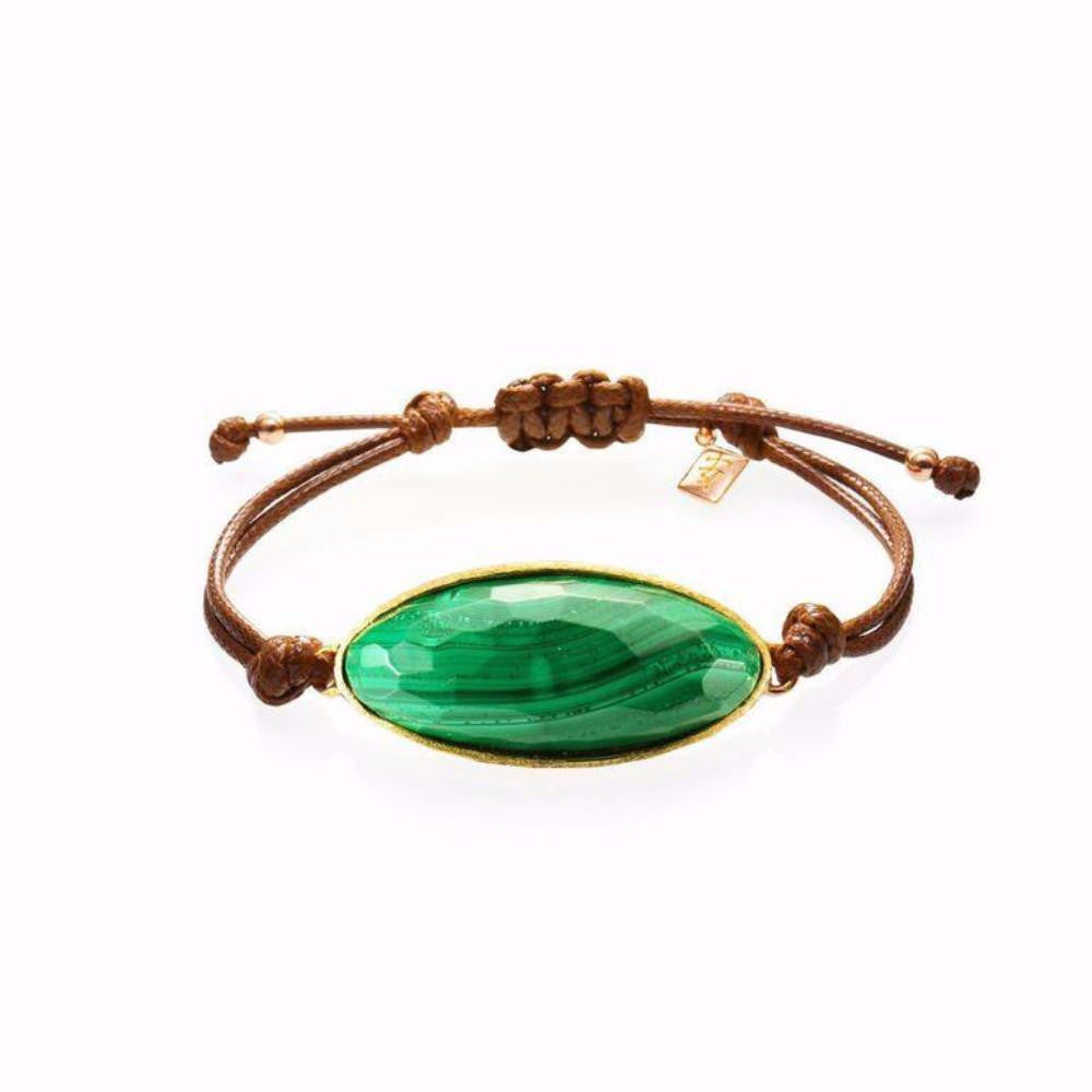 Lattice Corded Bracelet - malachite