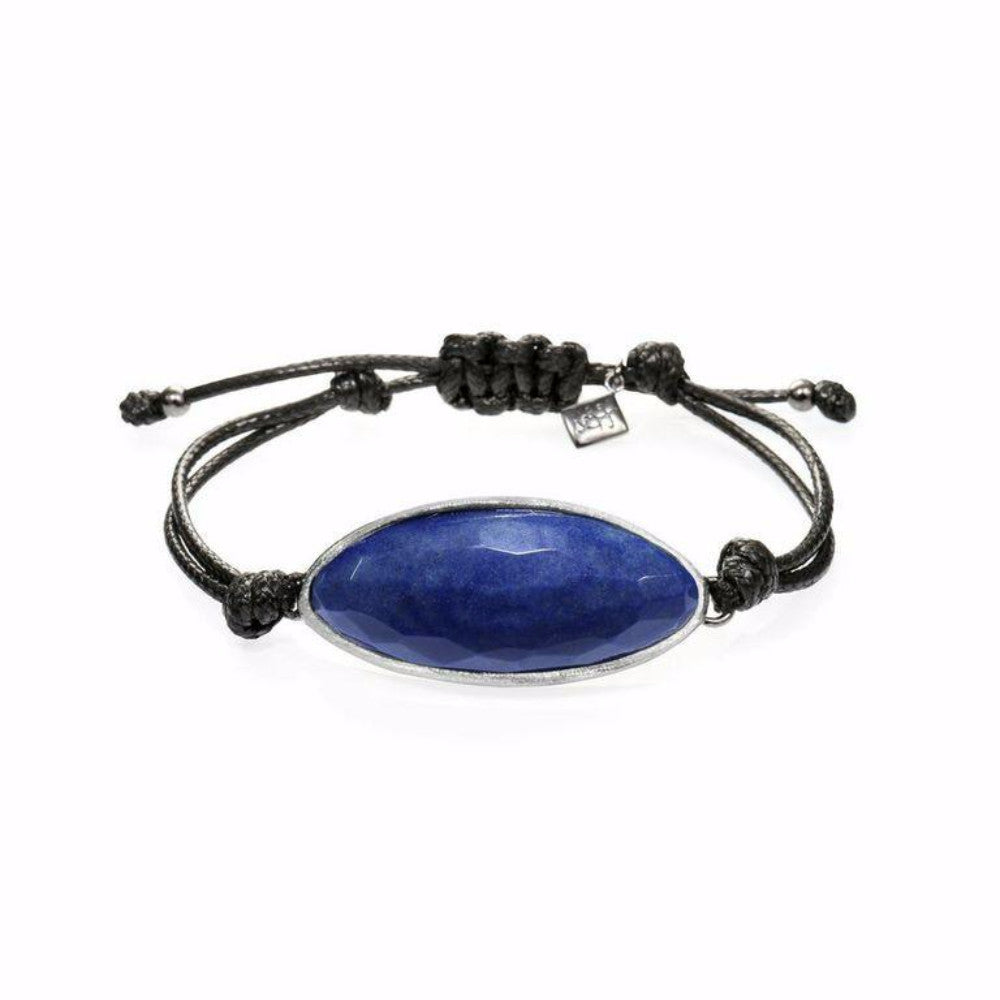 Lattice Corded Bracelet - blue agate