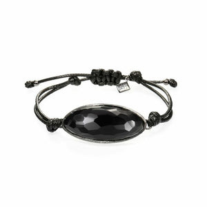 Lattice Corded Bracelet - black agate with black