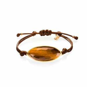 Lattice Corded Bracelet - tiger's eye