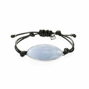 Lattice Corded Bracelet - blue lace agate