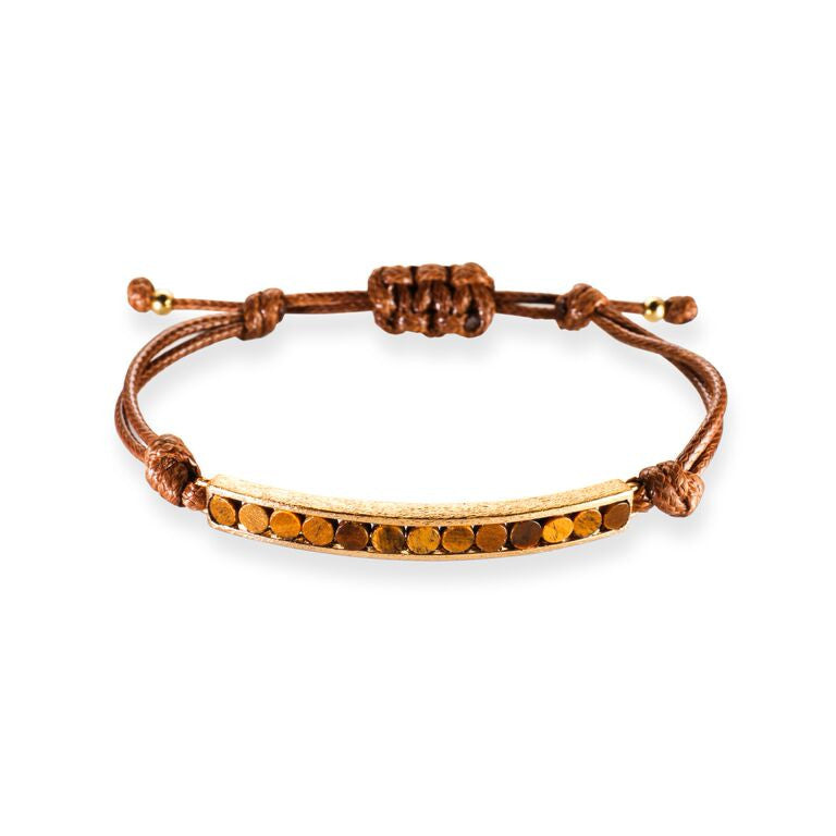 Mantra Corded Bracelet with Round Stones - tiger's eye