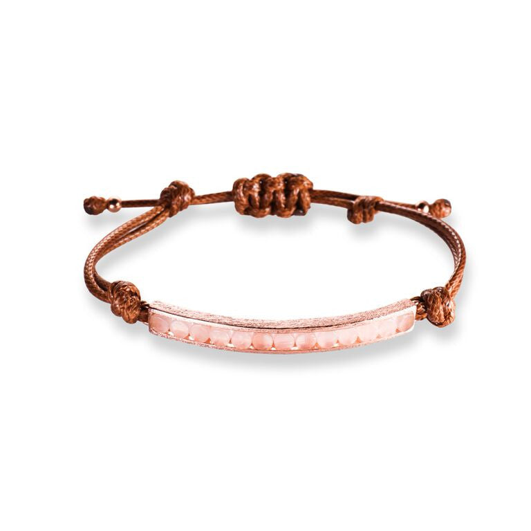 Mantra Corded Bracelet with Round Stones - Rose Quartz