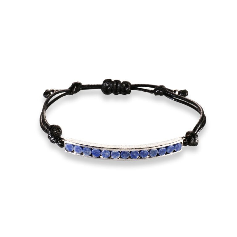 Mantra Corded Bracelet with Round Stones - Blue Quartz