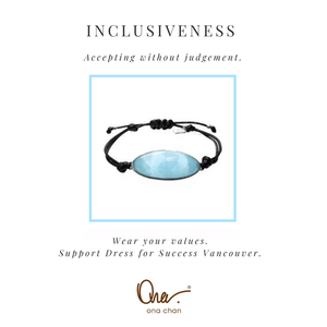 Inclusiveness Blue Cat's Eye Resin Values Bracelet