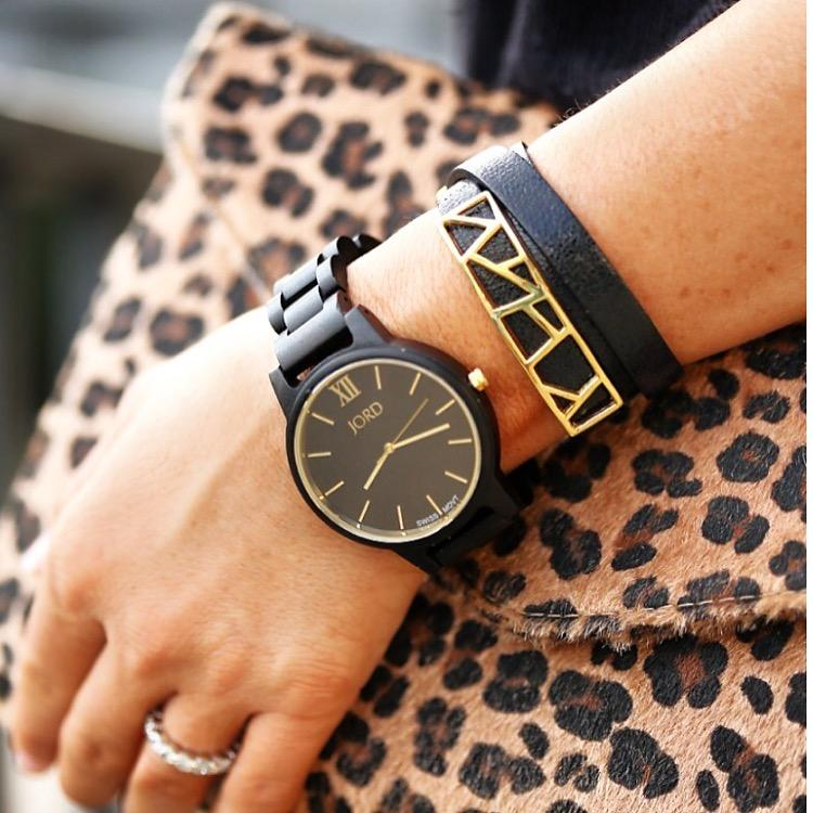 Blogger Hilary Kennedy Bracelet carrying leopard printed bag wearing Lattice Triple Wrap Leather Bracelet