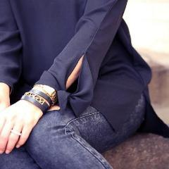 Blogger Hilary Kennedy in Navy and denim wearing  Lattice Triple Wrap Leather Bracelet