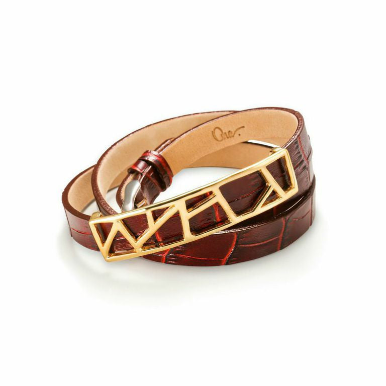 Lattice Triple Wrap Leather Bracelet - Merlot