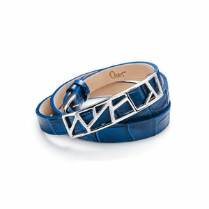 Lattice Triple Wrap Leather Bracelet -Egyptian Blue