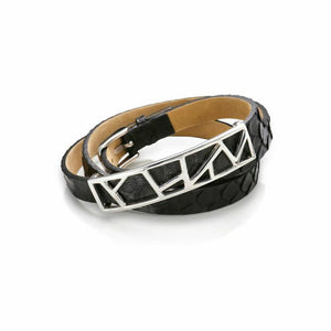 Lattice Triple Wrap Leather Bracelet - Midnight Python