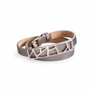 Lattice Triple Wrap Leather Bracelet - Metallic Silver