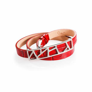 Lattice Triple Wrap Leather Bracelet - Scarlet