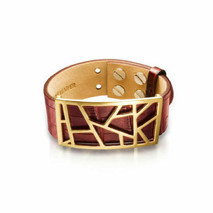 Lattice Leather Bracelet with Bronze Lattice - Merlot