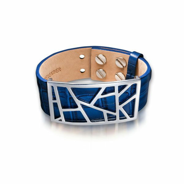 Lattice Leather Bracelet with Bronze Lattice - Egyptian Blue