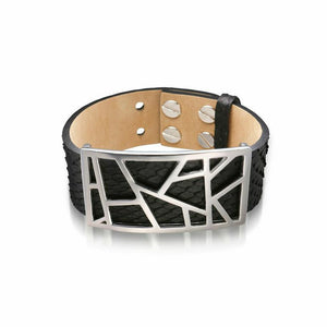 Lattice Leather Bracelet with Bronze Lattice - Black Python