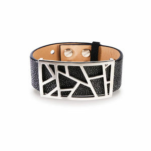 Lattice Leather Bracelet with Bronze Lattice - Slate Stingray and Rhodium