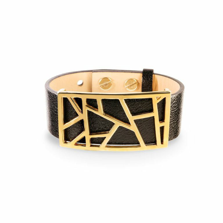 Lattice Leather Bracelet with Bronze Lattice - Metallic Black and Gold