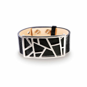 Lattice Leather Bracelet with Bronze Lattice - Metallic Black and Rhodium