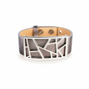 Lattice Leather Bracelet with Bronze Lattice - Metallic Silver with Rhodium