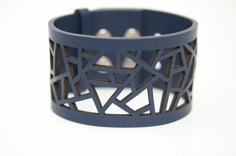 Lattice Leather Laser Cut Bracelet - Navy