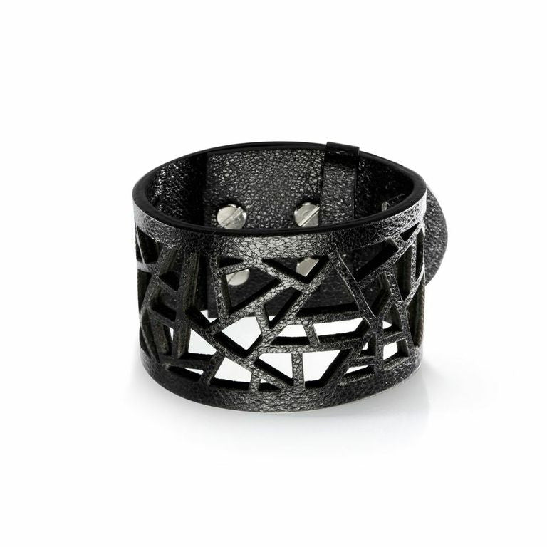 Lattice Leather Laser Cut Bracelet - Metallic Black