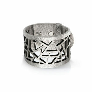 Lattice Leather Laser Cut Bracelet - Metallic Silver