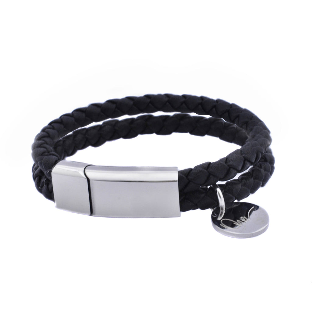 Bracelet - Unisex Leather Braided Bracelet With Steel Clasp And Charm
