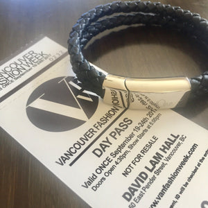 Bracelet - Unisex Leather Braided Bracelet With Steel Clasp And Charm on Tickets