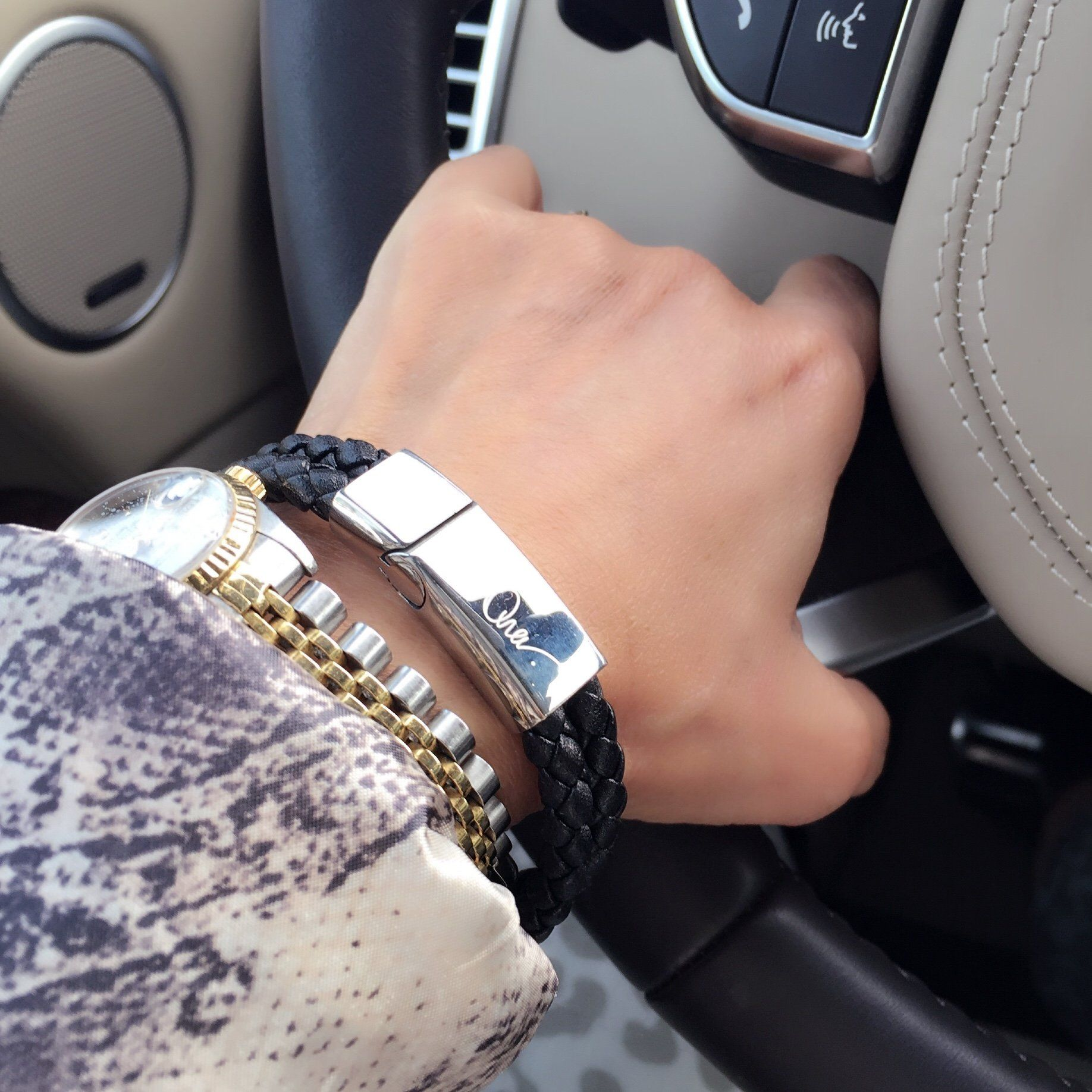 Bracelet - Woman driver wearing Unisex Leather Braided Bracelet With Steel Clasp And Charm