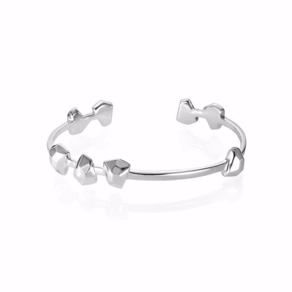 Lattice Boyfriend Cuff Rhodium