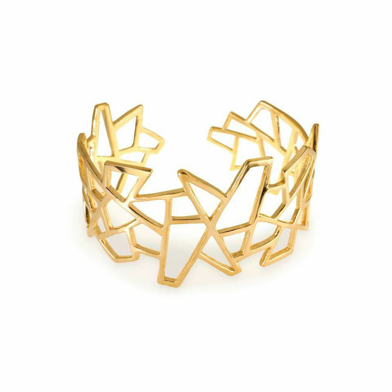 Lattice Jagged Medium Cuff - gold plate