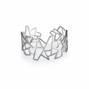 Lattice Jagged Medium Cuff - Rhodium plate