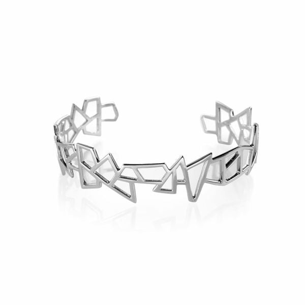 Lattice Small Jagged Cuff - rhodium plate