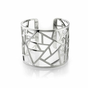 Lattice Large Cuff - rhodium plate
