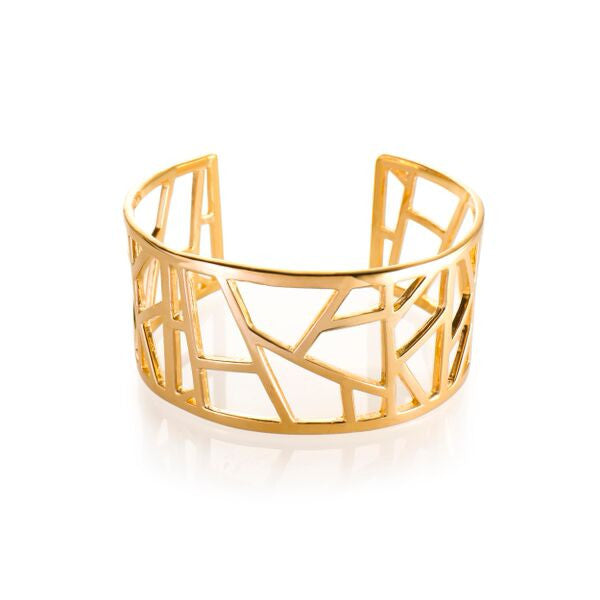 Lattice Medium Cuff - gold plate
