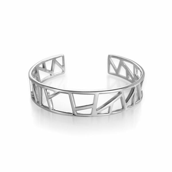 Lattice Small Cuff - rhodium plate