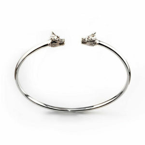 Dragon Double Head Cuff - rhodium
