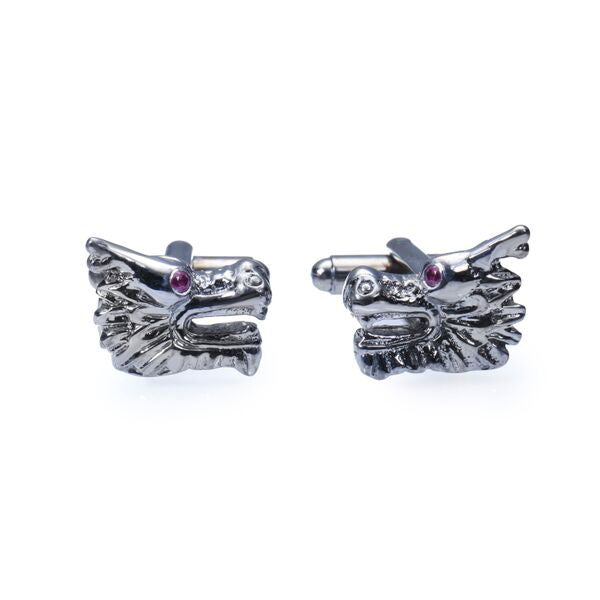 Cufflink - Dragon Cufflinks With Red Rubies