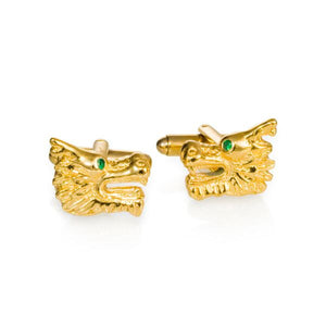 Cufflink - Dragon Cufflinks With Green Garnet