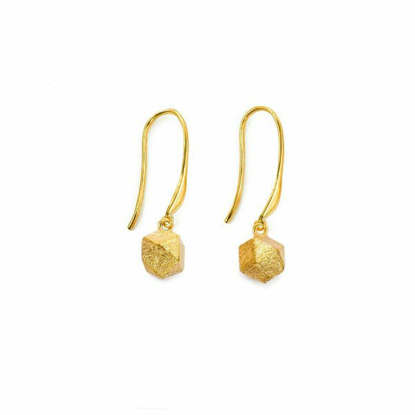 Mantra Cube Earrings - Engraved, gold plate
