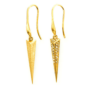 Mantra Dagger Drop Earrings, gold, Swarovski crystals