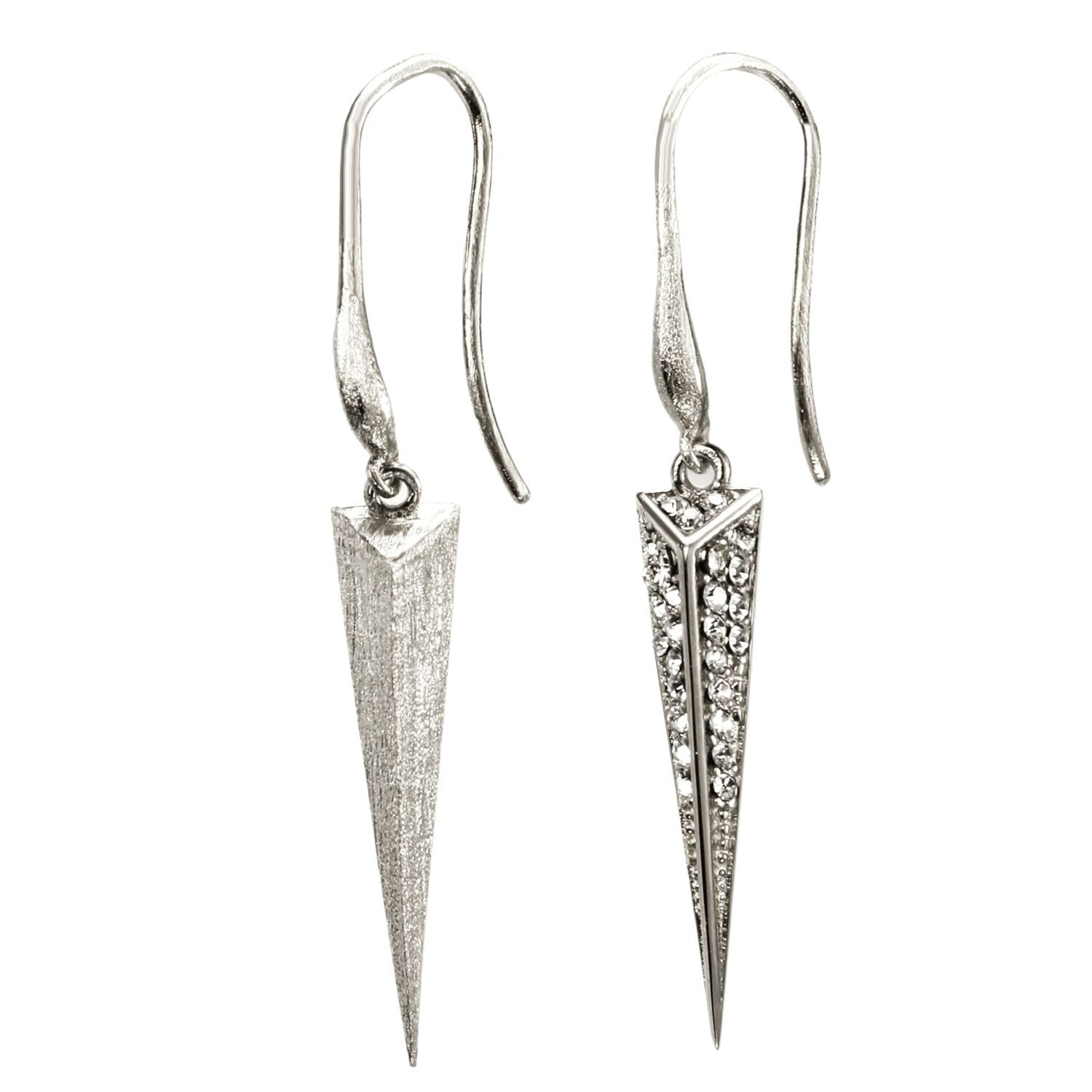 Mantra Dagger Drop Earrings, rhodium, Swarovski crystals