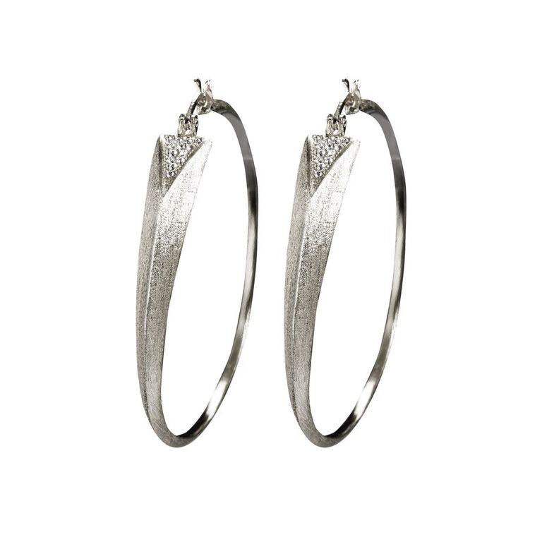 Mantra Dagger Hoops with Swarovski Crystals - rhodium