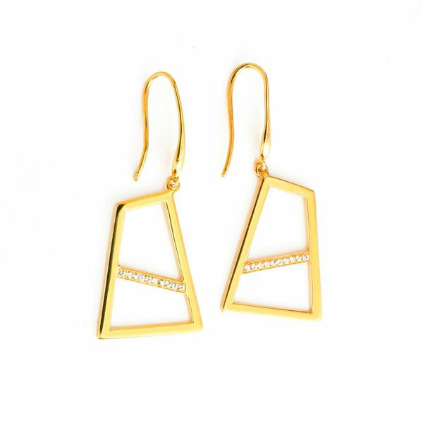 Lattice Double Drop Earring with Sapphires - gold