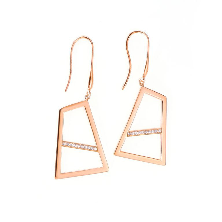 Lattice Double Drop Earring with Sapphires - rose gold
